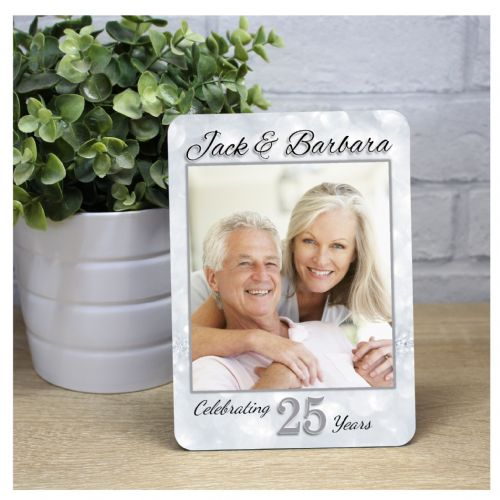 Personalised Silver 25th Wedding Anniversary Wood Photo Panel Print Gift F32